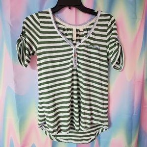 Anthropologie Featherbone Stripe Top